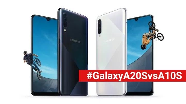 cover perbandingan Galaxy A20s vs A10s